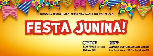 É a Festa Junina da Paróquia Nipo, sô! (Foto: Divulgação)