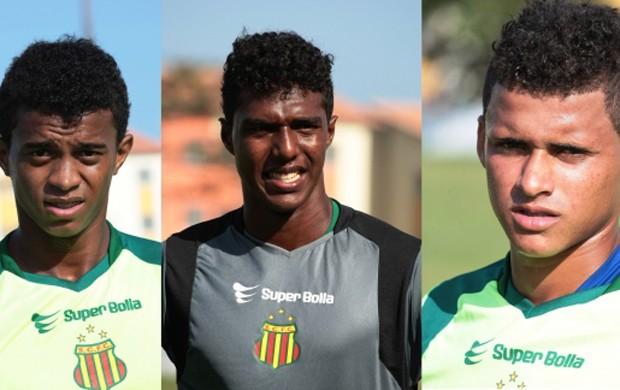 Da esquedar para direita: Ywri, Gustavo e Maurício, atletas liberados pelo Sampaio Corrêa (Foto: Divulgação/Site do Sampaio)