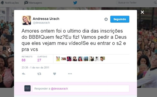 Twitter Andressa Urach 1 (Foto: Reprodução/Twitter)