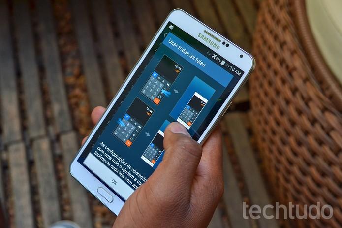 Galaxy Note 3 permite que a tela seja reduzida para facilitar o uso (Foto: Luciana Maline / TechTudo)