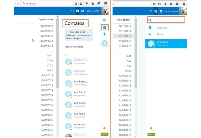 Encontre seus contatos no Skype (Foto: Reprodução/Barbara Mannara)