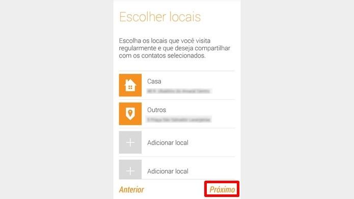 Lista dos lugares seguros registrados no Alerta Motorola (Foto: Reprodução/Raquel Freire)