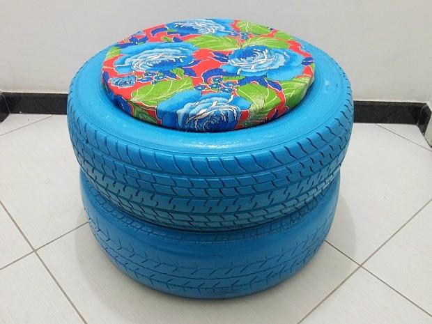 decorar banheiro velho: ' pneu velho em puff para decorar casa – notícias em Espírito Santo