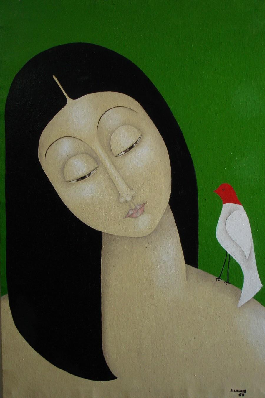 Tela 'Menina com Pásssaro', que foi exposta no Museu do Louvre (Foto: Divulgação)