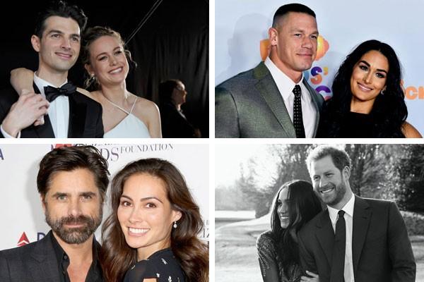 Brie Larson e Alex Greenwald, John Cena e Nikki Bella, John Stamos e Caitlin McHugh e Princípe Harry e Meghan Markle são alguns dos casais de celebes famosas que subirão ao altar em 2018 (Foto: Getty Images)