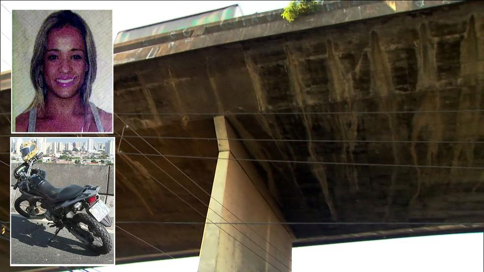 MoniqueSilva caiu da garupa de uma moto e foi arremessada de uma altura de 80 metros (Foto: TV Globo/Reprodução)