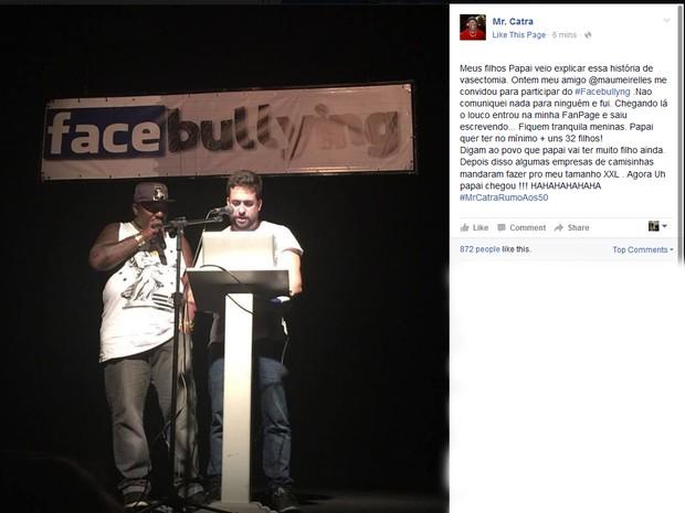 Mr Catra participa de stand-up de Mauricio Meirelles (Foto: Reprodução/Facebook do artista)