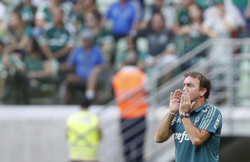 Cuca orienta o Palmeiras no empate contra o Atlético-MG (Foto: Leonardo Benassatto/Framephoto/Estadão Conteúdo)