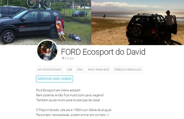 Anúncio de David dos Santos no Fleety (Foto: Reprodução)