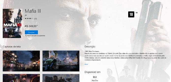Página de Mafia 3 na Xbox Store (Foto: Reprodução/André Mello)