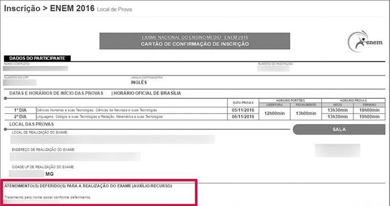 O cartão de confirmação do Enem 2016 também indica se o candidato terá direito a atendimento especializado ou específico (Foto: Reprodução)