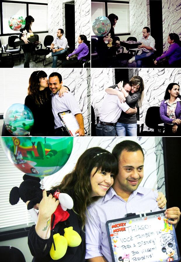 Na sequência, Renata Quintella dá a notícia a Thiago Rodrigues de que ele irá à Disney (Foto: Divulgação/A Jornada de Renata Quintella)