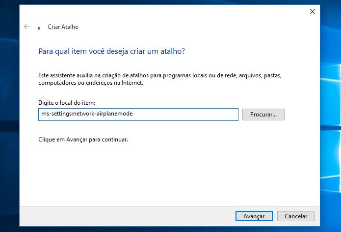 Colocando a URI da configuração do Windows no atalho (Foto: Reprodução/Edivaldo Brito)