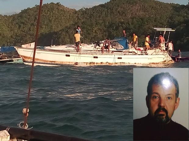 Pescadores acharam o corpo de Manfred Fritz Bajorat (foto no detalhe) em seu iate nas Filipianas (Foto: Reprodução/Facebok/Barobo Police Station)