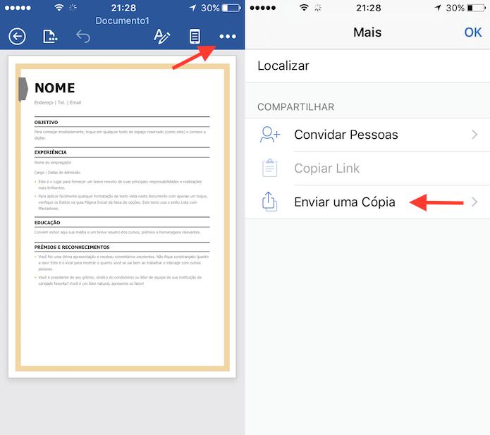 Caminho para enviar uma cópia de documento no Word para iPhone (Foto: Reprodução/Marvin Costa)