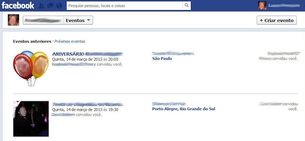 Formato anterior da área 'Eventos' no Facebook. (Foto: Reprodução)