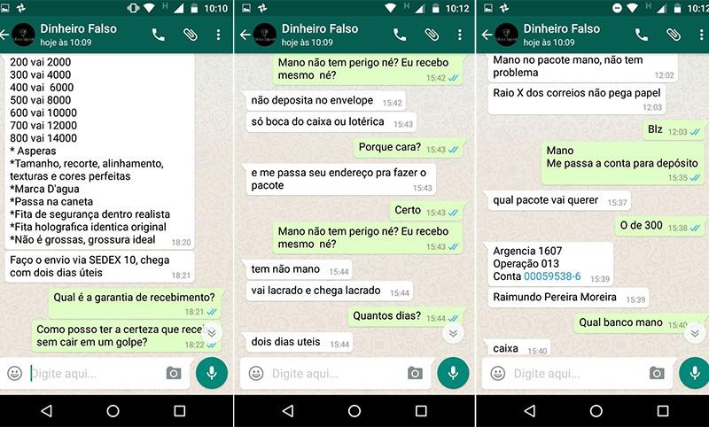 Conversa com vendedor de notas falsas (Foto: Reproducao/Whats App)
