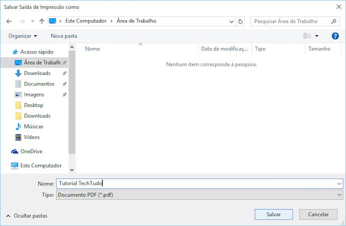 Salvando arquivo PDF no Windows 10 (Foto: Reprodução/Helito Bijora)
