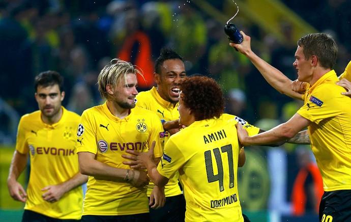 comemoração do Borussia contra o  Arsenal (Foto: Agência Reuters)