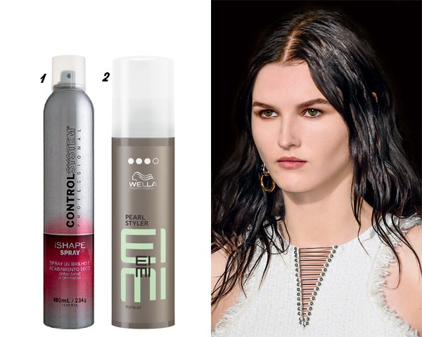O cabelo com efeito molhado apareceu no desfile de Alexander Wang. 1. Spray de brilho iShape, Control System, R$ 86/ 2. Gel Pearl Styler Eimi, Wella R$ 110 (Foto: Imaxtree/divulgação)