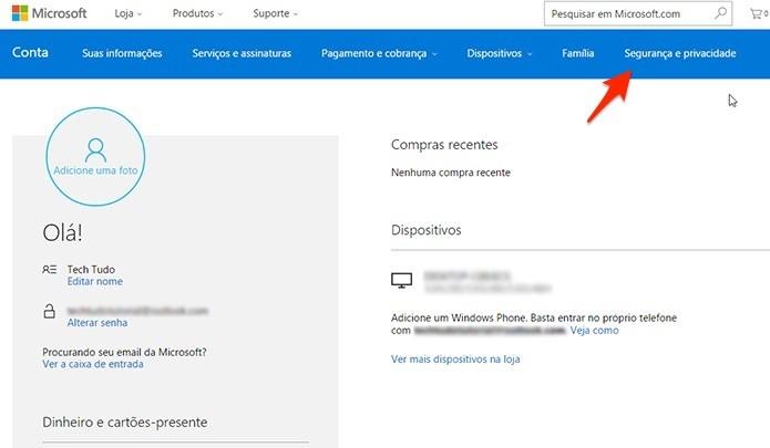 Caminho para deletar a conta da Microsoft. (Foto: Reprodução/Alessandro Junior)
