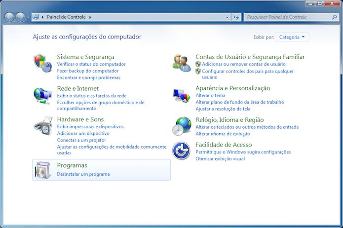 Abra o painel de controle do Windows (Foto: Reprodução/Helito Bijora)