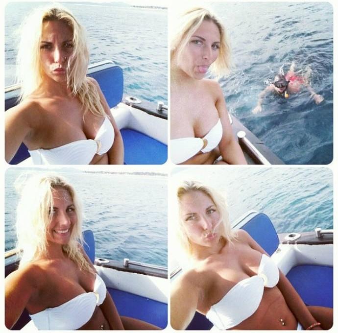 Laura Tropea faz caras e bocas em barco (Foto: Reprodução)