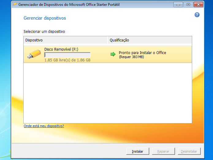 Selecionando e iniciando a criação do disco com MS Office Starter Portátil (Foto: Reprodução/Edivaldo Brito)