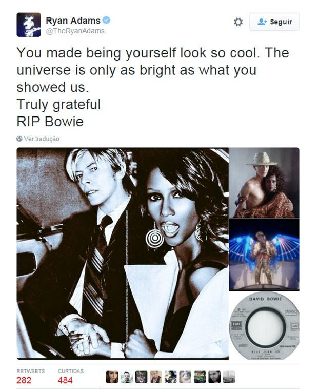 O cantor e guitarrista americano Ryan Adams fez uma homenagem a David Bowie em seu perfil no Twitter (Foto: Reprodução/Twitter/TheRyanAdams)