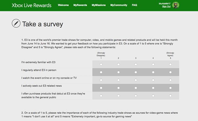 Responda a pesquisas da Xbox Live Rewards (Foto: Reprodução/Murilo Molina)