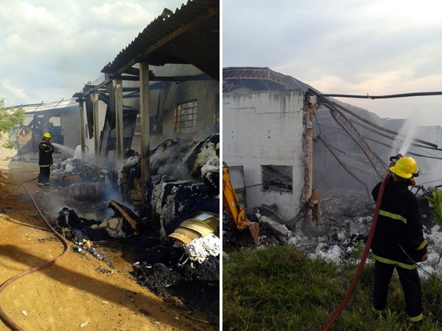 Bombeiros levaram cerca de 7h para conter chamas em fábrica de fios de Bueno Brandão, MG (Foto: Corpo de Bombeiros)