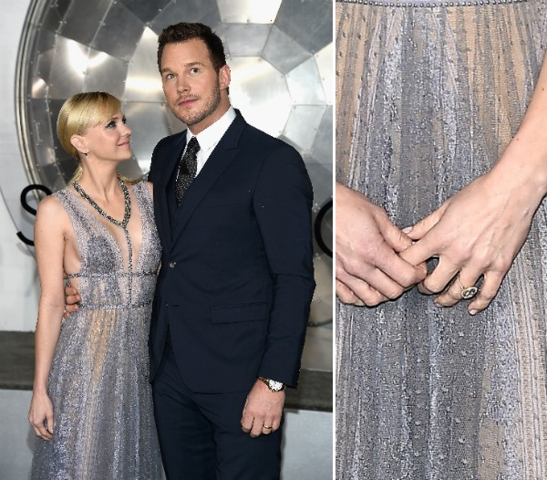 Anna Faris, Chris Pratt e a aliança da atriz (Foto: Getty Images)