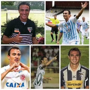 Alfredo em ação por São Paulo, América-RN, Paysandu, Luverdense e Portimonense (Foto: Arte: GloboEsporte.com)