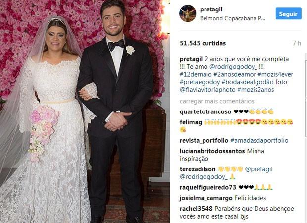 Preta Gil celebra aniversário de casamento (Foto: Reprodução)