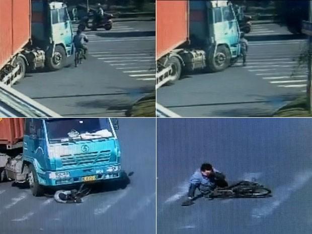 Câmeras mostram momento em que caminhão atropela ciclista na China ao virar uma esquina; rapaz sofreu apenas arranhões (Foto: Reprodução/GloboNews)