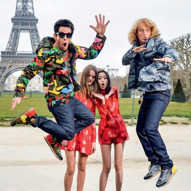 Strike a pose: Ben Stiller e Owen Wilson como Derek Zoolander e Hansel. A dupla promoveu Zoolander 2 na semana de moda de Paris, em março passado (Foto:   Grosby Group, Divulgação, Getty Images, Reprodução @mariotestino e Reprodução)
