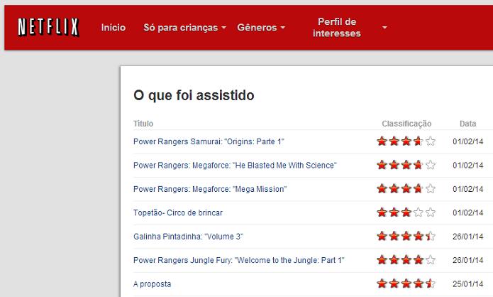 Netflix mostra histórico de filmes (Foto: Thiago Barros/TechTudo)
