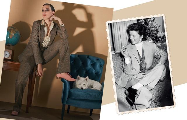 Adriane Lisboa usa blazer (R$ 7.200), camisa (R$ 3.800) e calça (R$ 4.300), tudo Ralph Lauren, e oxfords Alexandre Birman (R$ 1.590) (Foto: Ivan Erick, Kurt Hutton e Keystone/Getty Images e MGM/Kobal/Rex/Shutterstock)
