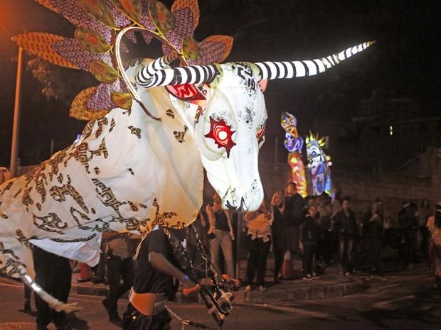 Até nosso famoso bumba-meu-boi aparece por lá (Foto: Schalk van Zuydam/AP)