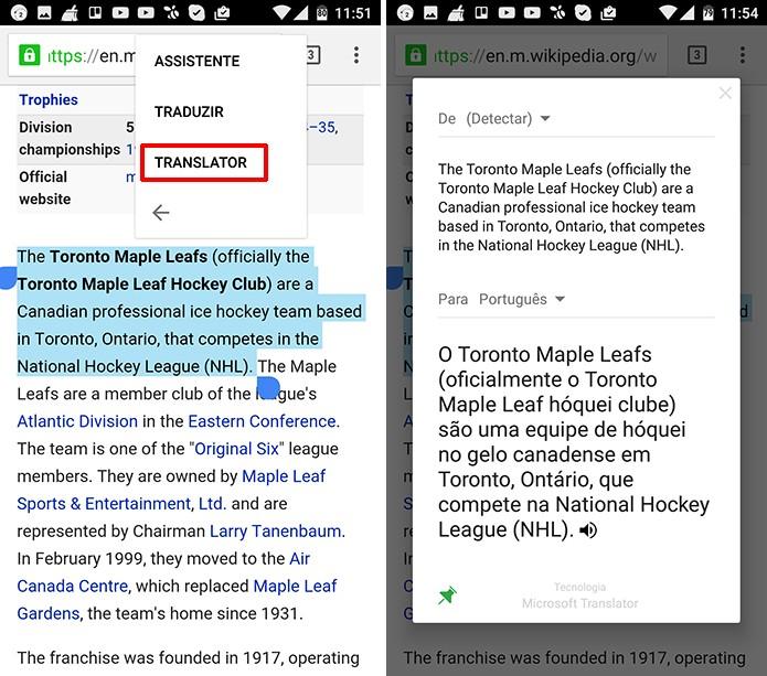 Microsoft Tradutor pode ser acionado através da opção Translator (Foto: Reprodução/Elson de Souza)