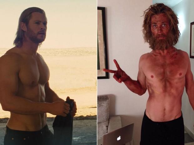 O ator australiano em 'Thor' (2011), à esquerda, e em imagem postada por ele no Instagram neste domingo (22), para divulgação 'No coração do mar' (Foto: Divulgação e Reprodução/Instagram/chrishemsworth)