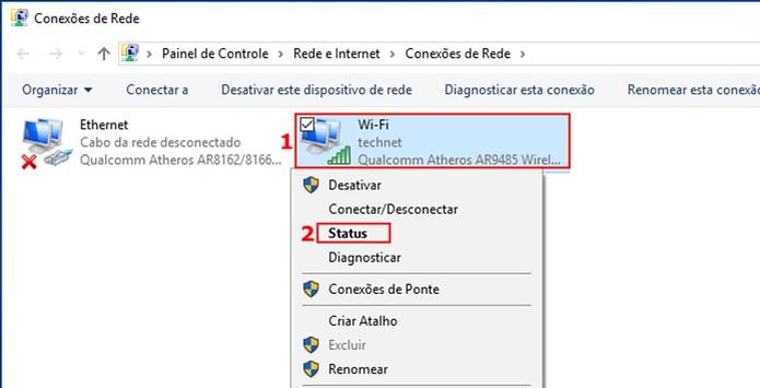 Acessando o Status da Rede Wi-Fi  (Foto: Edivaldo Brito/TechTudo)