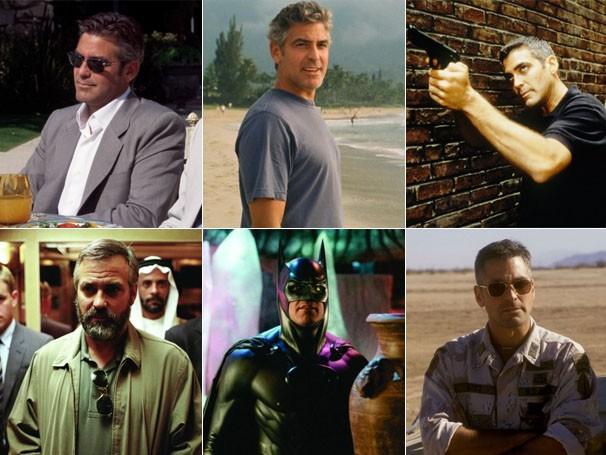 """George Clooney em: """"Onze Homens e Um Segredo"""", """"Os Descendentes"""", """"O Pacificador"""", """"Syriana"""", """"Batman e Robin"""" e """"Três Reis"""" (Foto: Divulgação / Reprodução)"""