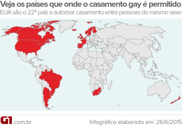 Mapa países casamento gay (Foto: Editoria de Arte/G1)