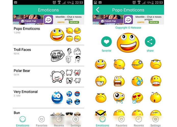 Emoticons para WhatsApp tem pacotes de emoticons divertidos (Foto: Reprodução/Barbara Mannara)