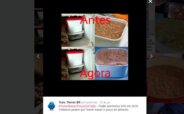 Preço do feijão vira meme no Twiter (Foto: Reprodução/Twitter)