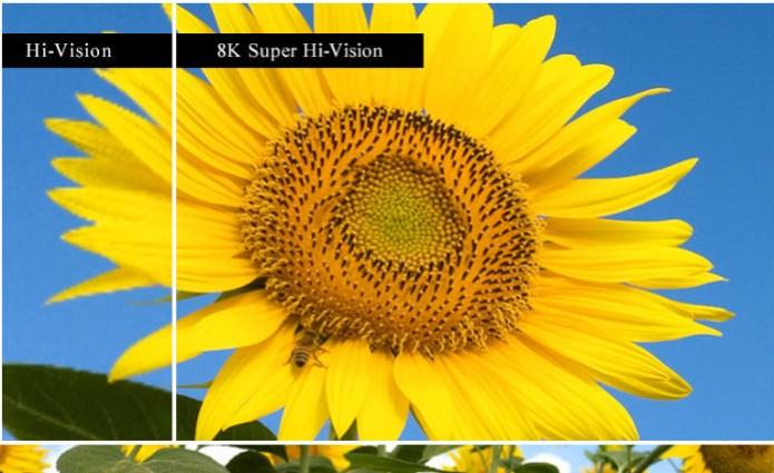 Comparativo do display de resolução 8K  (Foto: Reproduçãp/NHK)