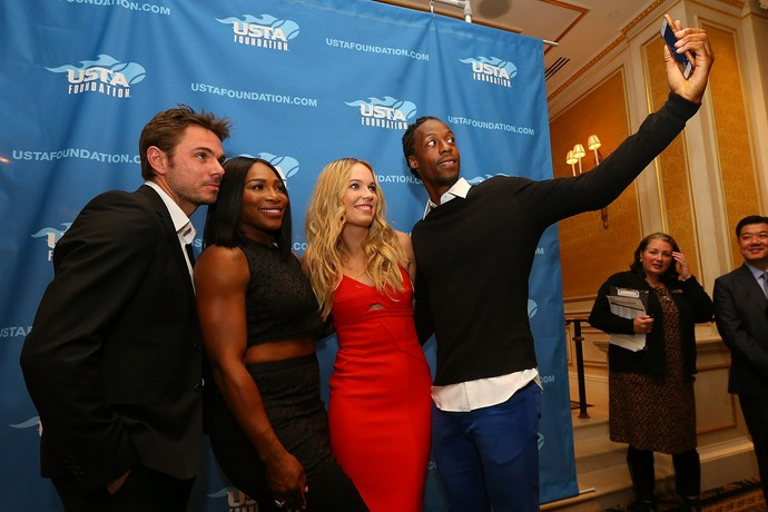 Serena Williams, Caroline Wozniacki, Gael Monfils e Stan Wawrinka no Dia Mundial do Tênis em Nova York (Foto: Getty Images)