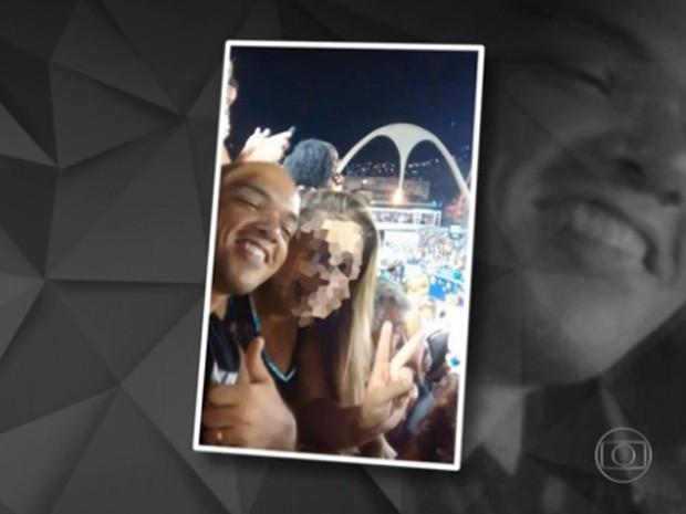 PM Thiago Tomé de Jesus voltava do desfile das campeãs quando morreu (Foto: Reprodução / Globo)