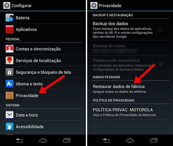 Acesse o menu de Privacidade do Razr HD (Foto: Reprodução/Paulo Alves)